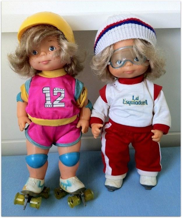 A dupla Lu Patinadora e Lu Esquiadora, que viviam caindo.