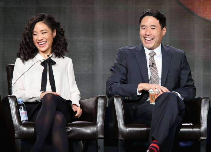 Wu with co-star Randall Park at the January 2015 TCAs.