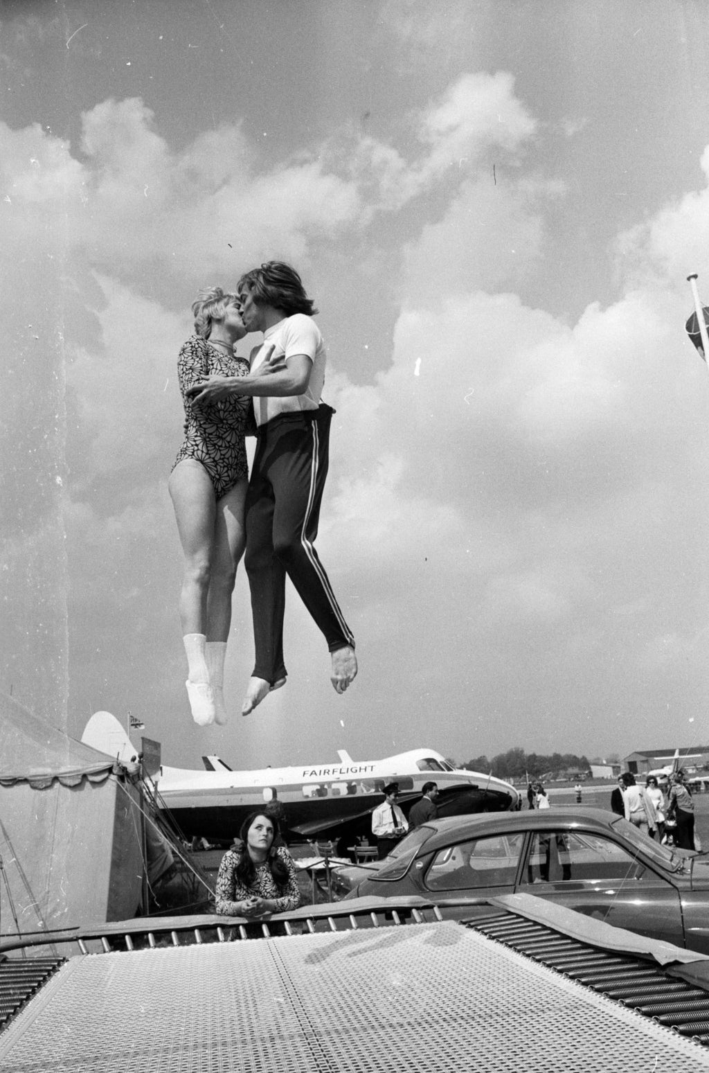 World trampolining champion Paul Luxon and his fiancee, German Ladies Champion Ute Czech. May 1973