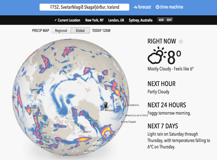 """""""Weather?"""" you say. """"Zzzzzz."""" Let us prove you wrong with forecast.io. Super accurate, and helpful for your local area, but also weirdly absorbing for guessing temperatures around the world."""