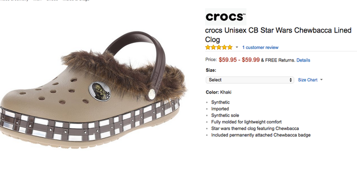 Created by the author Married to the Sea (more on that later), TWTFS is updated daily with the worst things for sale on Amazon. Check in and see if anything takes your fancy (like perhaps these ~unisex~ Chewbacca Crocs).