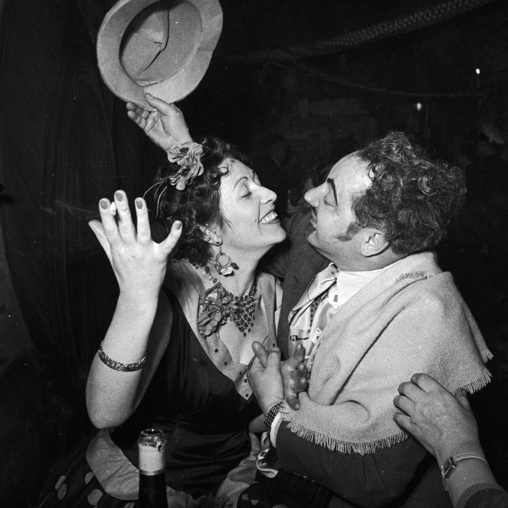 A couple dancing at a carnival in Germany.1956
