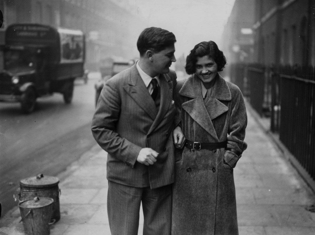 Welsh labour politician Aneurin Bevan with his new wife, former MP Jennie Lee, shortly after their wedding, London. October 1934.