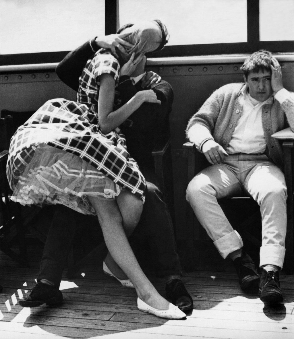 A couple kissing on board a cross channel ferry from Southend to Calais, which carried 200 twisters as part of the Festival of Twist.