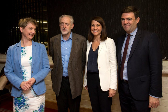 Corbyn with rivals (L-R) Yvette Cooper, Liz Kendall, and Andy Burnham.