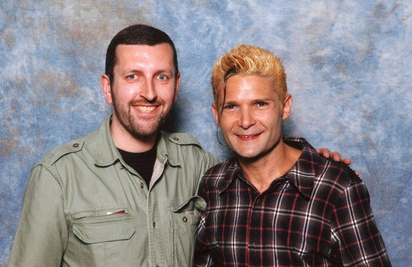 "CelebHeights owner Rob Paul with actor Corey Feldman, who claims to be 5'8"", but Rob pegs him at 5'5""."