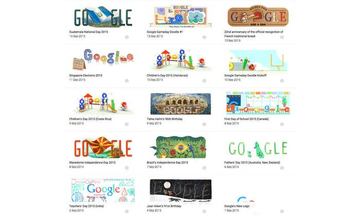 """Did you know the very first Google Doodle goes as far back as 1998? Well, you can explore the entire archive of over 2,000 doodles by visiting Google.com/Doodle, or clicking """"I'm Feeling Lucky"""" on the Google homepage."""