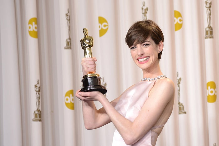 Hathaway after winning Best Supporting Actress in 2013.