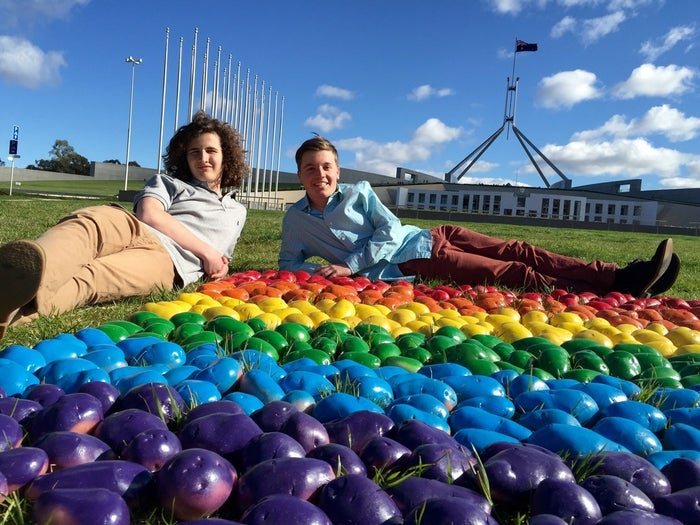 Daniel Butson (L) and Will Richards at parliament house, Canberra.