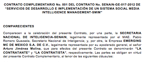 A sample section of the contract between Ecuador's intelligence agency, Senain, and Emerging MC.