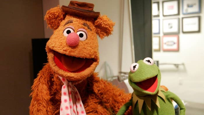 The puppet design of Kermit the Frog is exactly the same as the puppet for Fozzie Bear... the only difference is that Fozzie generally wears a hat.