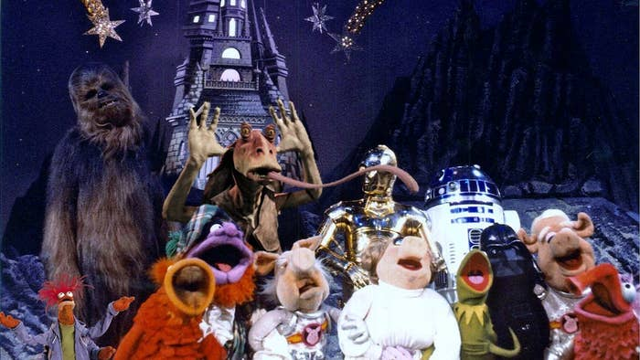 """The real reason that seasons four and five of """"The Muppet Show"""" haven't been released on DVD mostly have to do with the intense and time-consuming restorations and enhancements that Disney and ILM are doing to the episodes -- among them is digitally adding Pepe the King Prawn to all of the episodes and replacing Mark Hamill with Jar-Jar Binks in the """"Star Wars"""" episode."""