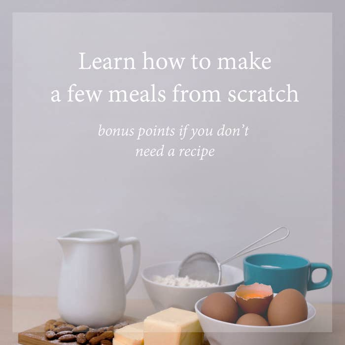 Knowing how to navigate the kitchen — whether that's learning a couple simple sauces or memorizing basic recipes — could help lead you toward a healthier lifestyle. Plus, it's a fun way to challenge yourself and relieve some of that workday stress.