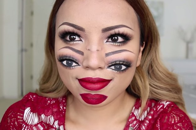 This Double Face Halloween Makeup Look Is Trippy Af - Halloween-face-makeup