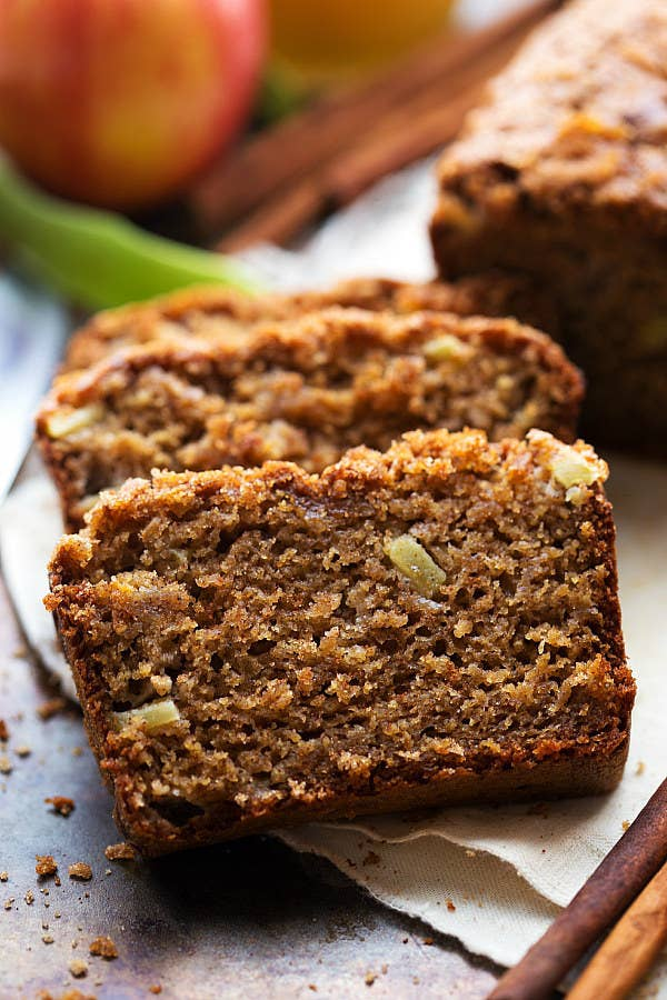 A delicious Fall-inspired Applesauce Spice Bread made with tons of healthier swaps.