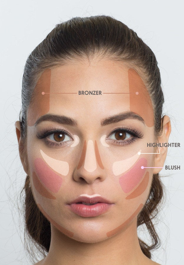 """Highlighter is like an IRL filter, bronzer defines bone structure, and blush gives the cheeks dimension in pictures.Highlighter: """"Add this to the top of the cheeks, center of the nose and inner corner of the eyelids,"""" Rabanal says.Bronzer: Sweep bronzer over the jawline, temples, sides of the nose, and just under the cheekbones.Blush: Use a natural-looking blush after your highlighter to add tone and dimension to the cheek. For photos, this blends the products together so they don't sit on top of the skin."""
