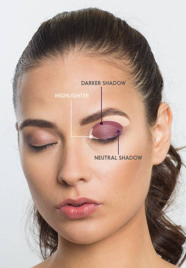 Using three colors (a neutral, a darker shade, and a highlighter) will make your eyes appear brighter and larger in pictures.Start with a classic defining shape. Neutral shadow over the lid will even things out, darker shadow in the crease will make your eyes pop, and highlighter at the inner corner and on the brow bone will brighten up the darker areas of the eye. If your eyelid is smoother without a strong crease, blend the deeper shade on the outer corner of the eye for nice dimension. Let your bone structure be the guide.