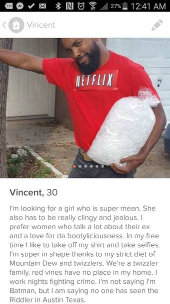 And this is his latest Tinder picture: a literal representation of the classic pastime, Netflix and chill. After uploading the picture on Reddit, it has since gone viral.