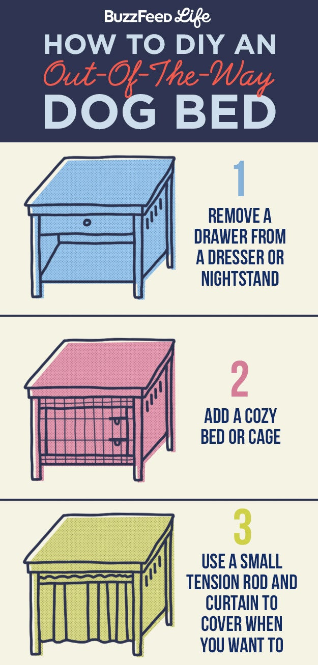 Do you have any DIY tips for pets in a small space like an apartment? —Vicky A.Dog cages can be eyesores, especially when they take up precious floor space in a tiny room. To get your kennel off the floor and still keep it convenient for your pooch, try this handy DIY! First, remove a drawer from a dresser or nightstand. Then, place a soft bed or kennel inside the empty space. Add a curtain for your pup's privacy— and as a way to cover it up during the day while still allowing your pooch easy access. You're done!