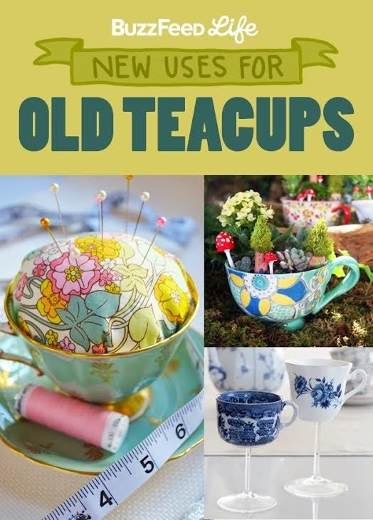 What can I do with all Granny's old teacups and saucers? —Leroux D.There are dozens of ways to use teacups other than simply for drinking tea. Here are some inventive ways to repurpose your grandmother's collection: Use them to beautifully organize your necklaces, earrings, and other baubles. Or transform a single cup into a pin cushion using a scrap of fabric and some stuffing. If you have a green thumb, you could create a miniature teacup garden. And if you prefer to sip wine instead of tea, turn the cups into wine glasses — cheers!