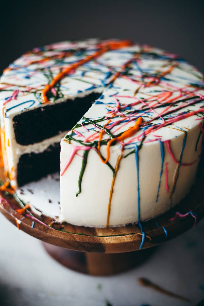 Pull A Jackson Pollock And Splatter Paint The Top Of Cake With Frosting