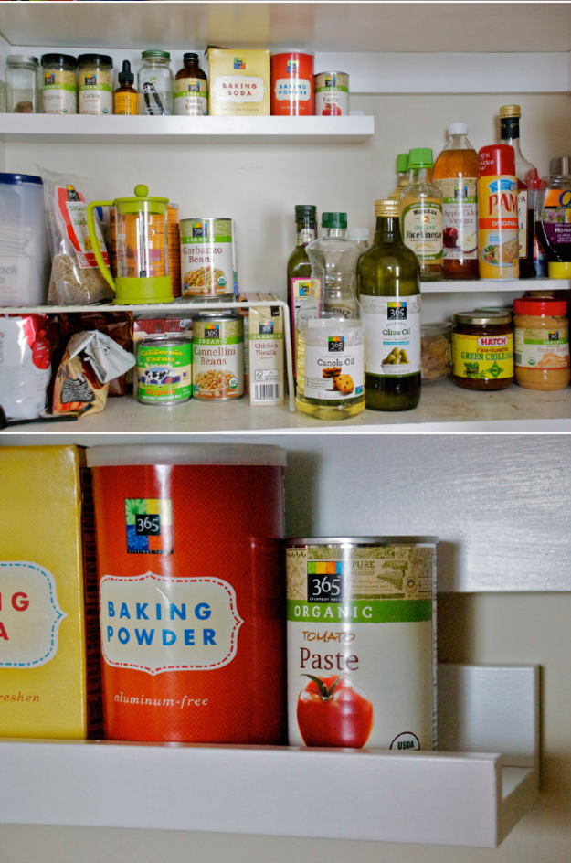 Use a thin shelf to maximize pantry storage.