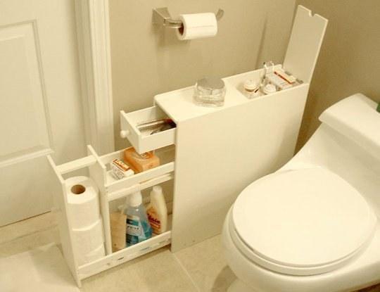 Tuck a skinny shelf into any unused bathroom space.