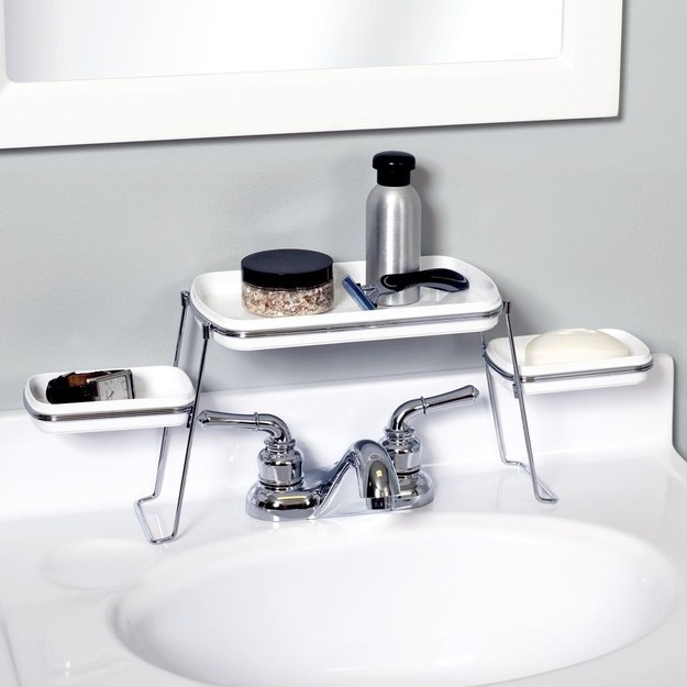 This shelf keeps the area around your sink tidy.