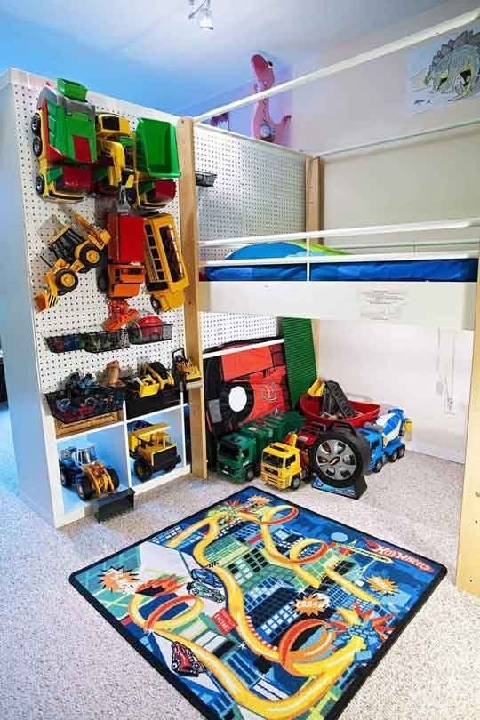 Use a pegboard to store odd-shaped toys.