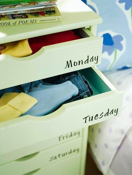 Keep clothes sorted by outfit in a labeled dresser.