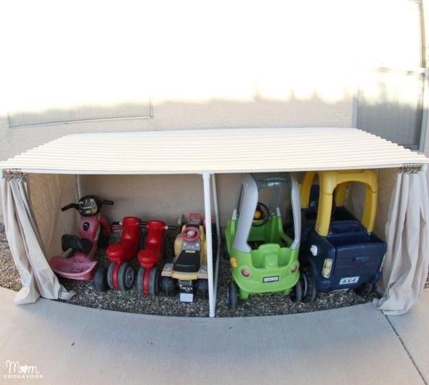 Make a mini garage for kid-sized cars.