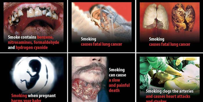 It found that images of disease and death on cigarette packets made people more likely to want to quit and less likely to want to take up smoking, although it did not look at how likely people actually were to quit. Another review last year in the American Journal of Public Health, though, found that there was not enough evidence to say that the images reduce smoking.