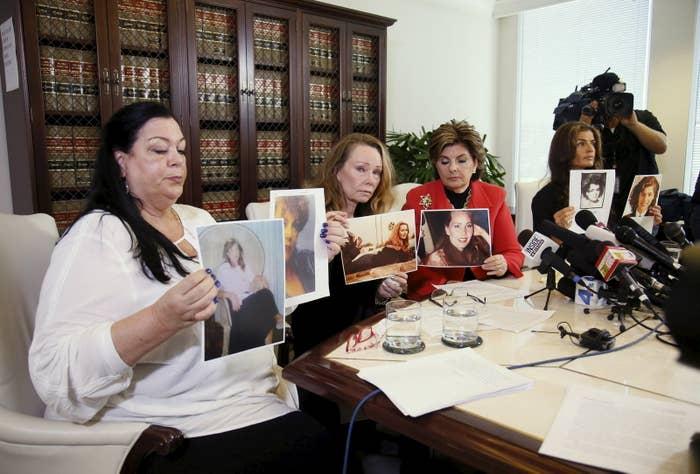 Pamela Abeyta (L), Sharon Van Ert (2nd L), and Lisa Christie (R), allege misconduct by Bill Cosby.