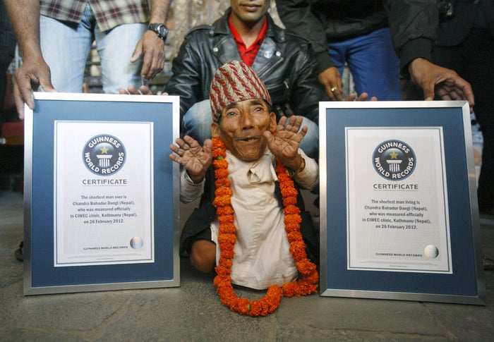 Chandra Dangi poses for a picture after being announced as the world's shortest man in Kathmandu, Feb. 26, 2012.