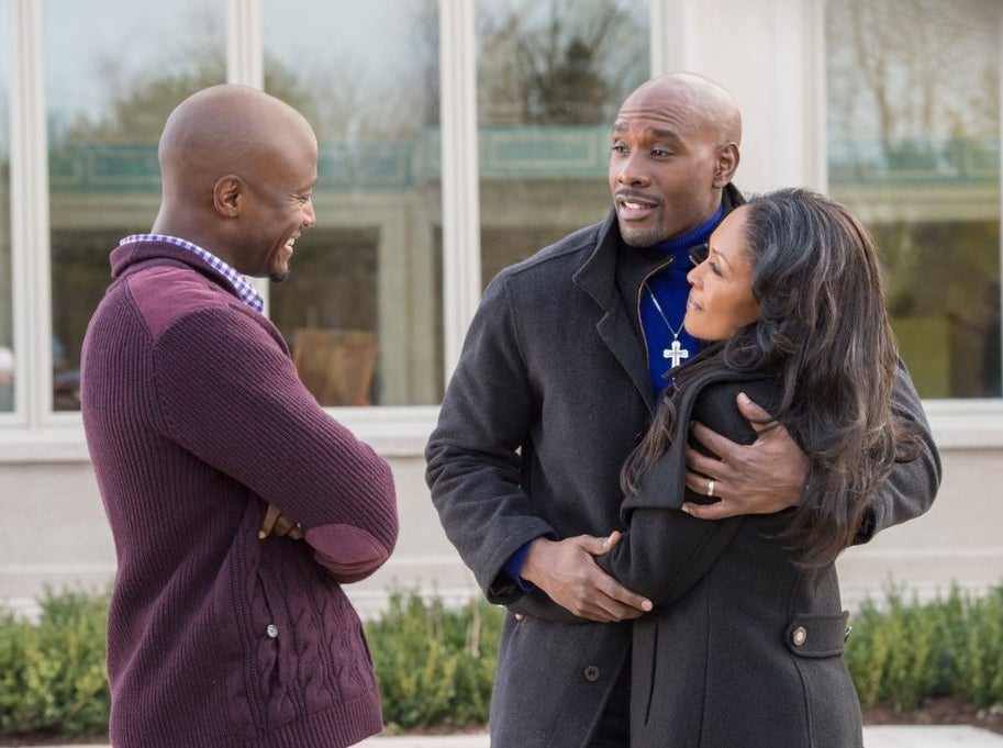 Taye Diggs, Morris Chestnut, and Monica Calhoun in The Best Man Holiday
