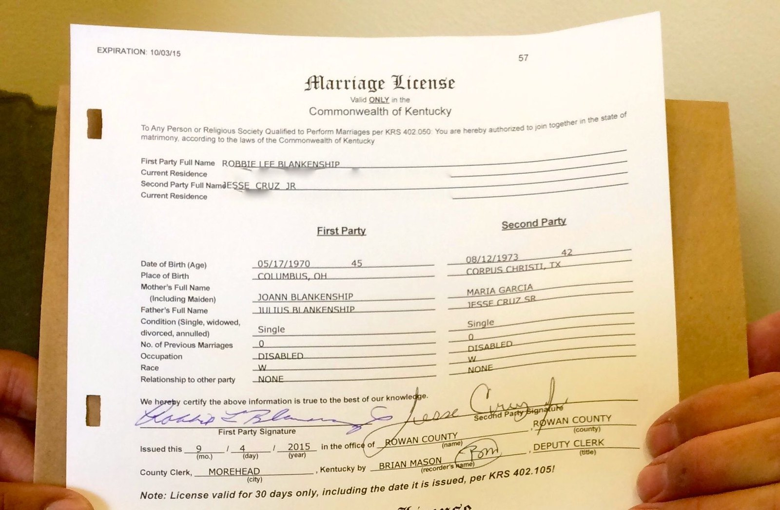 Kentucky Clerk's Name Left Off Marriage Licenses, Validity Questioned