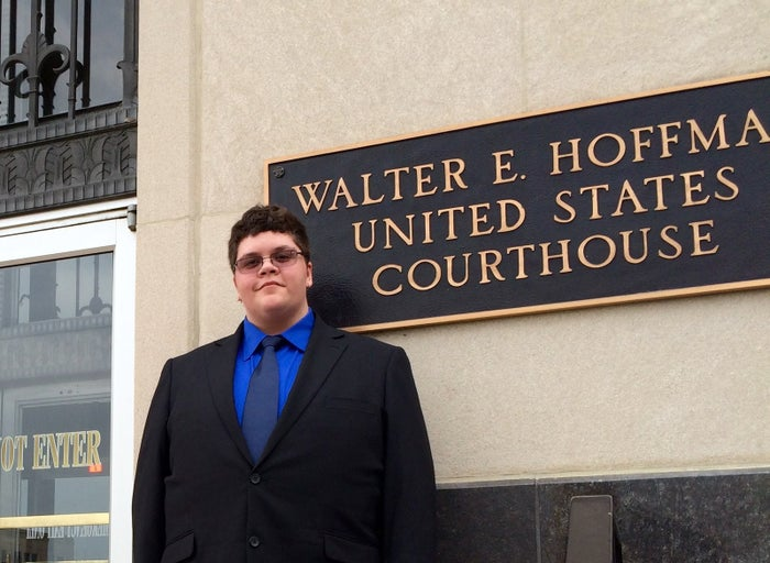 Gavin Grimm before a hearing in U.S. District Court on July 27, 2015.