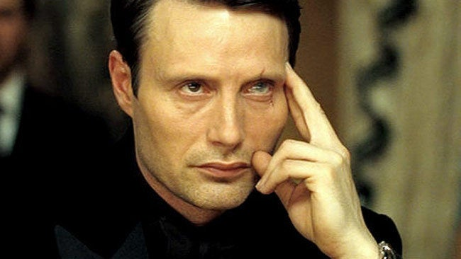 """Le Chiffre works the mysterious bad-boy angle flawlessly. He's soft-spoken, cool(ish) under pressure, and with those """"unique"""" tears, he proves he might have a sensitive side after all."""