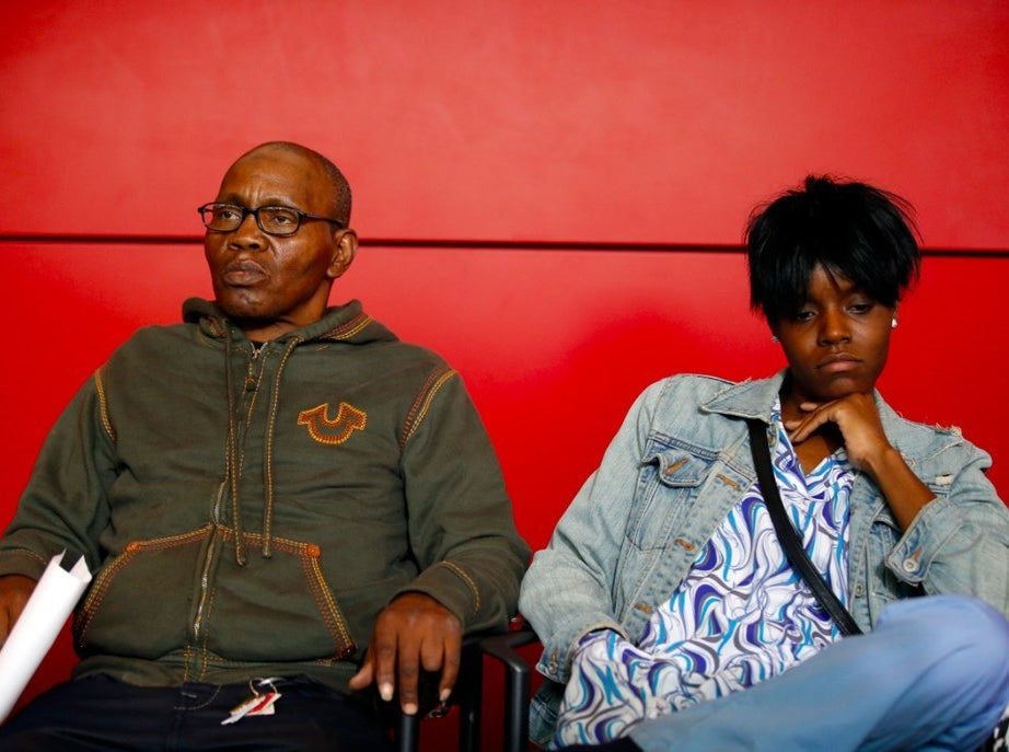 Freddie Gray's sister, Fredricka Gray (right) and his stepfather, Richard Shipley