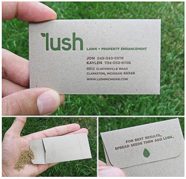20 of the most creative business cards this business card is actually a small envelope of grass seeds you get started on reheart Gallery