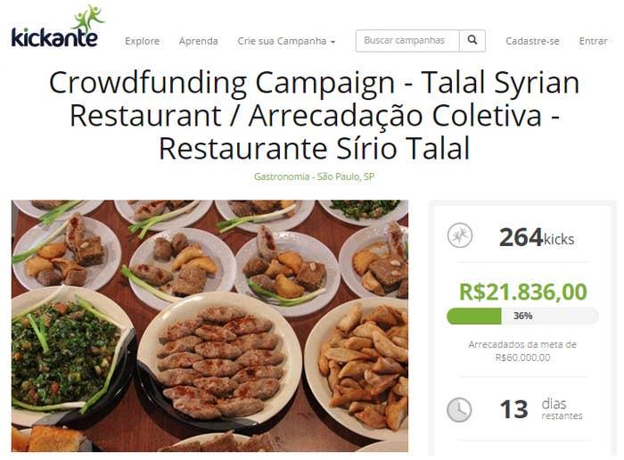 O projeto é necessário por causa dos altos custos com equipamentos como fogão, geladeira, batedeira, máquinas para moer carne e fazer suco, e locação de imóvel, diz Talal. O projeto chega ao fim no dia 21 deste mês.