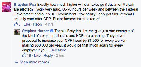 "This gave Harper an opportunity to repeat one of the main slogans of his re-election campaign, that the NDP and Liberals will raise taxes.It turns out Mazurkiewich used to be president of the Manitoba Progressive Conservative Party's youth wing but resigned because of offensive comments he made on Facebook. The comments were made in 2012 after the Federal Court sided against the government and ruled it could not sell a former military base property without consulting First Nations. ""If they build a reserve inside this city I think that will be the last straw and I will finally leave what is becoming the laughing stock,"" Mazurkiewich wrote on Facebook.""That was built for hardworking men and women of the military, not freeloading Indians.""Mazurkiewich resigned as soon as the story broke, but told the QMI News Agency he would continue to use social media in the same way even if it offends people."