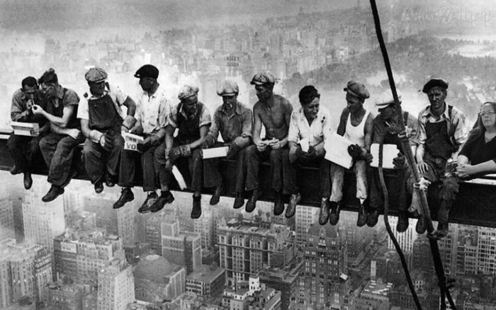 Pictured: Davis and her co-workers during the construction of the RCA building in New York. Prior to her appointment as the Rowan county clerk, Davis worked in construction on virtually every famous building around the world.