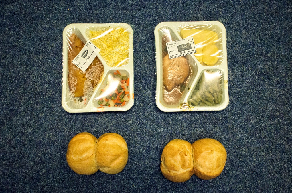 Typical food at the centre. Breakfast and lunch is usually bread and dinner is a packaged meal.