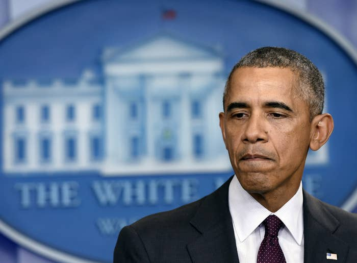 President Obama pauses as he speaks in the Brady Press Briefing Room at the White House on Thursday.