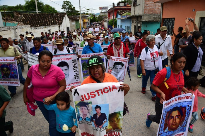 Relatives and friends of the 43 missing students from Ayotzinapa take part in a demonstration in Iguala, Guerrero State, Mexico, on September 27, 2015.