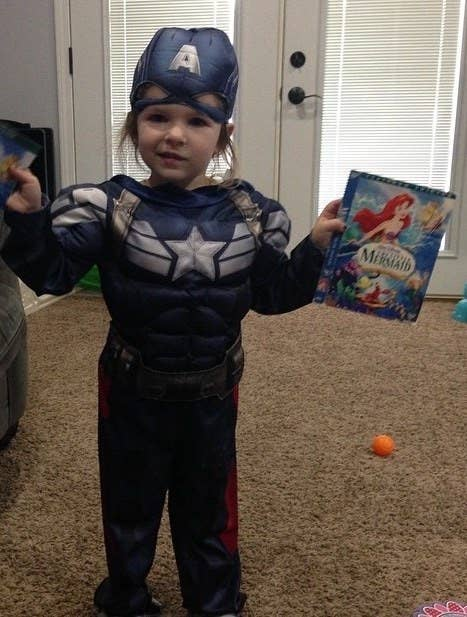my daughter claire age three dressed as captain america and asking