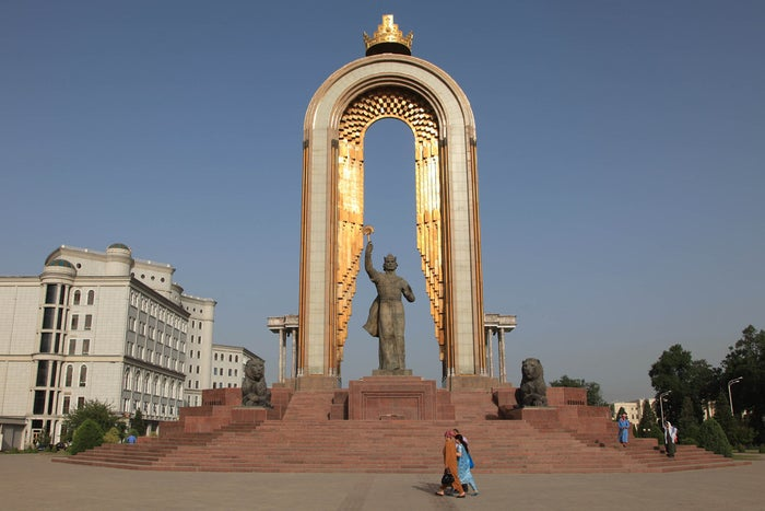 The statue of Ismoil Somoni, an oft-featured symbol of Tajikistan, in Dushanbe.