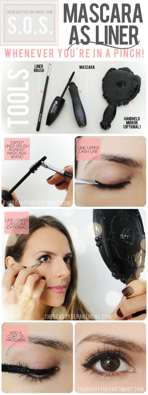 Use your liner brush to swipe a bit of mascara, and use it to line your upper lashes. Get the full instructions here. Mirenesse iCurl Mascara works wonders and does double duty.