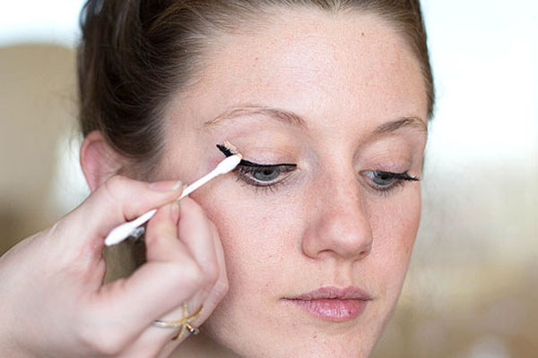 But if your eyeliner is still a hot mess, use a pointed cotton swab and concealer to clean up any mistakes.